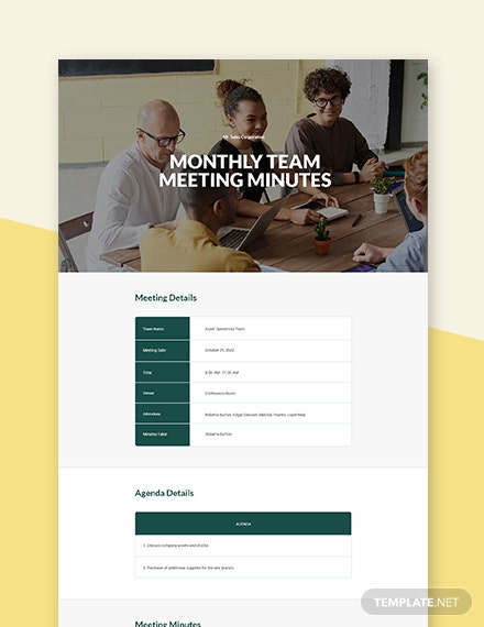 Monthly Team Meeting Minutes Template
