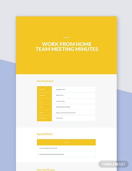 Work From Home Team Meeting Minutes Template