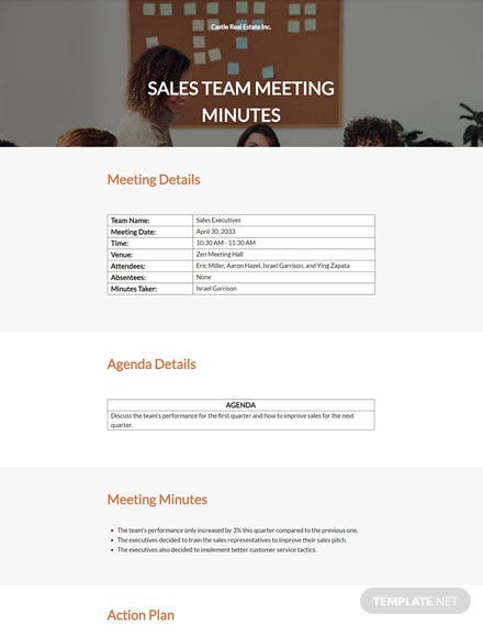 Sample Real Estate Meeting Minutes Template