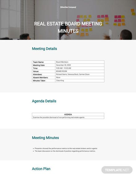 Simple Real Estate Meeting Minutes Template