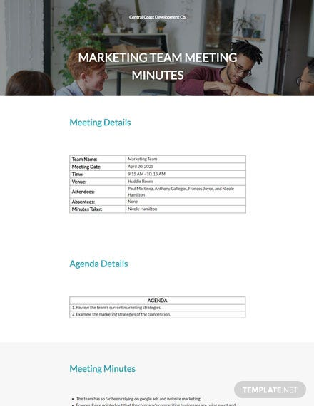 Blank Real Estate Meeting Minutes Template
