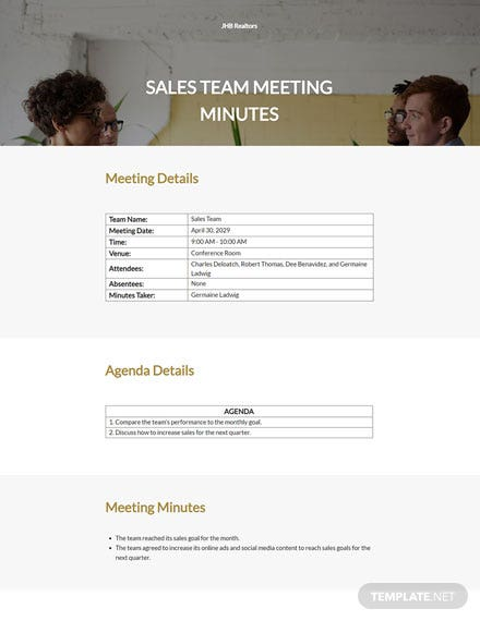 Real Estate Sales Meeting Minutes Template