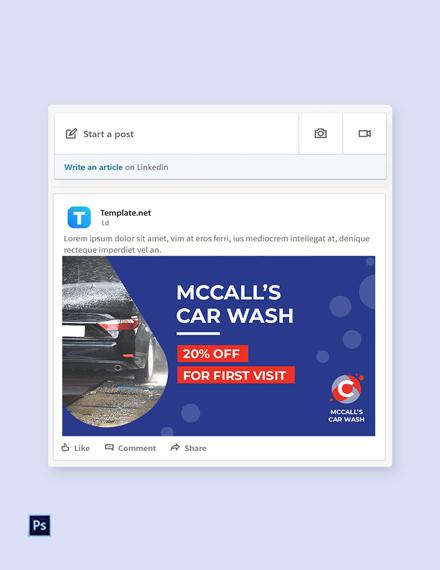 Free Car Wash linkedin Post Template