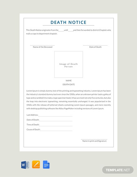 Free Death Notice Template