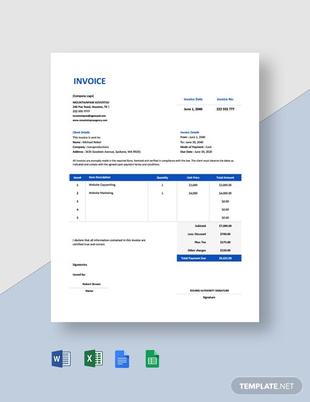 Professional Advertising Agency Invoice Template