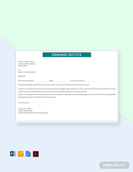 Free Demand Notice Template