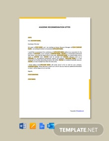 Free Academic Recommendation Letter Template