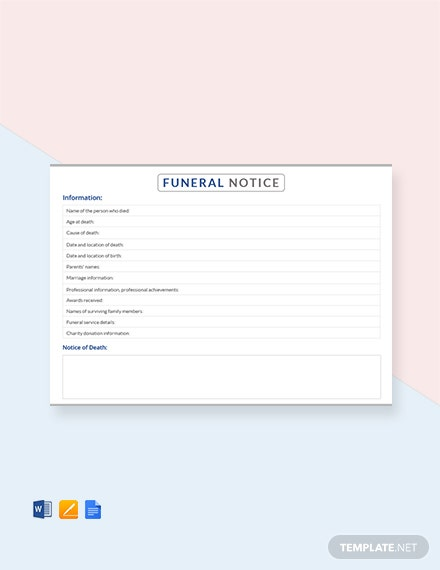 Free Funeral Notice Template