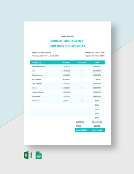 Advertising Agency Expenses Spreadsheet