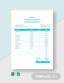 Advertising Agency Expenses Spreadsheet Template