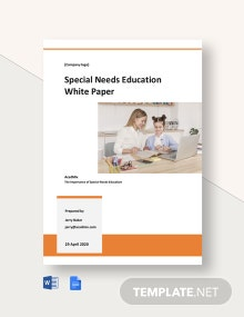Special Needs Education White Paper Template
