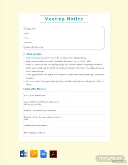 Free Meeting Notice Template