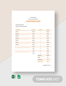 Free Sample Advertising Sheet Template