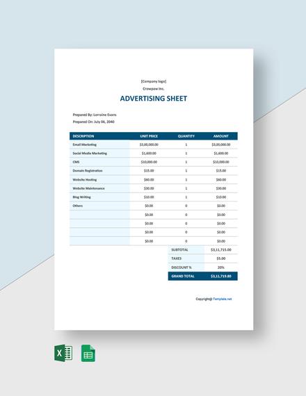 Free Simple Advertising Sheet Template