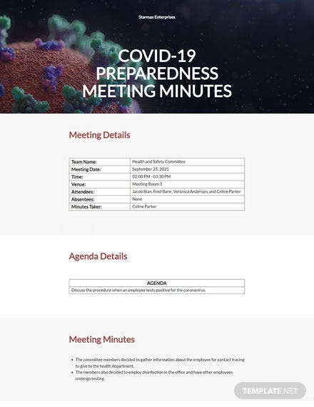 Formal Covid 19 meeting minutes