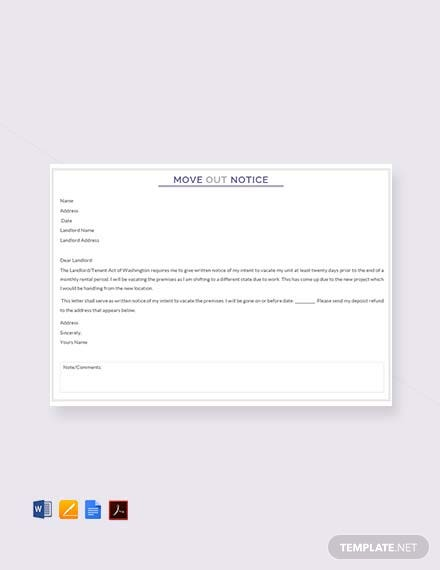 Free Move Out Notice Template