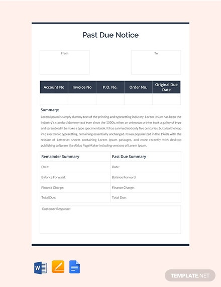 Free Past Due Notice Template