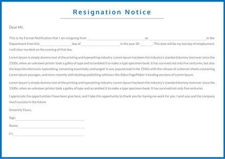 Resignation Notice Template