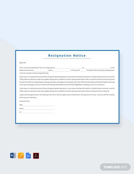 Free Resignation Notice Template