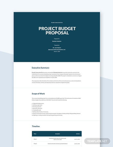 Editable Project Budget Proposal