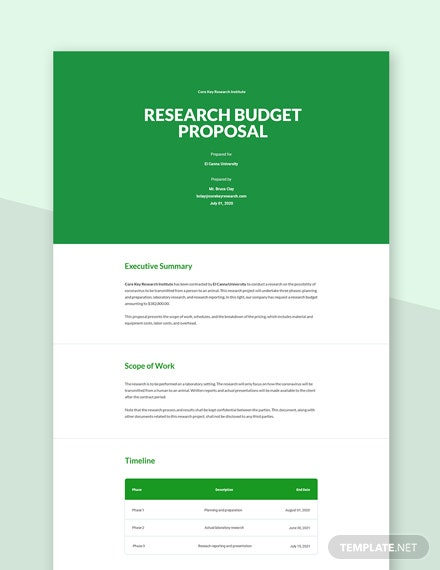 Research Budget Proposal Template