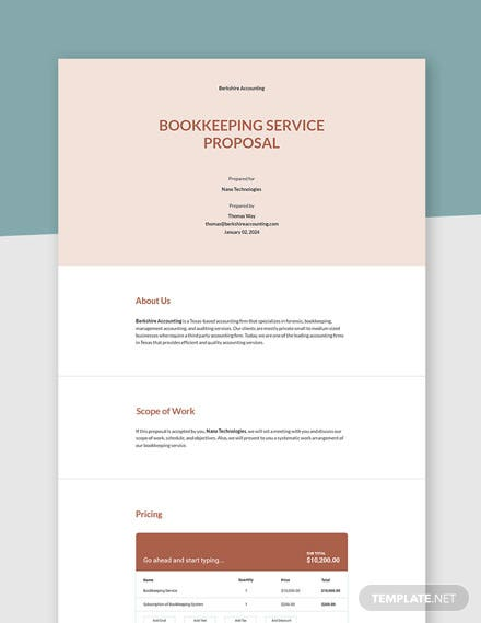 Free Simple Bookkeeping Proposal