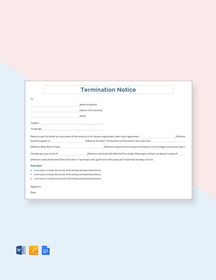 Free Termination Notice Template