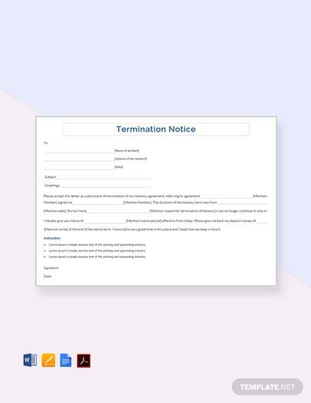 Free Termination Notice Template