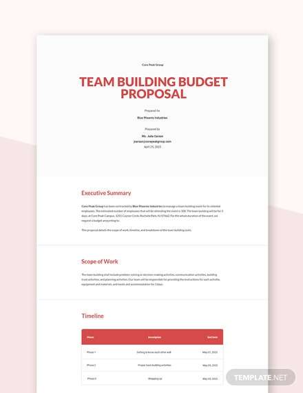Team Building Budget Proposal Template