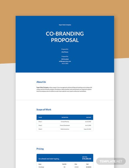 Co-branding Proposal Template