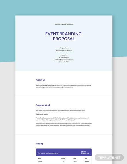 Event Branding Proposal Template