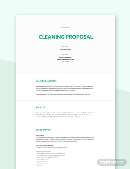 Sample Cleaning Proposal Template
