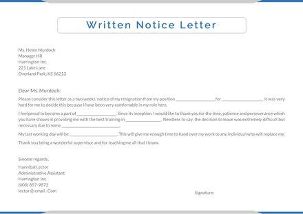 Written Notice Letter Template