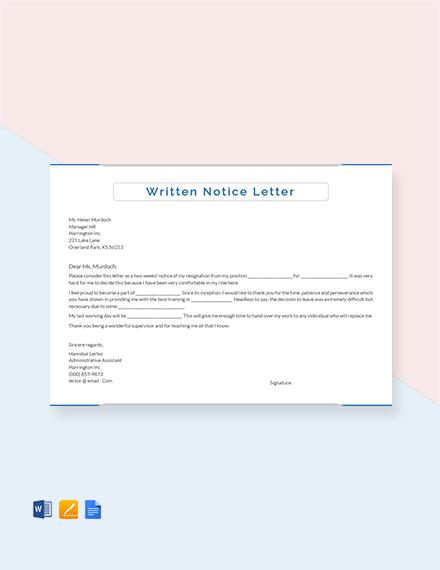 Free Written Notice Letter Template