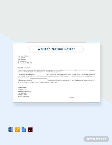 Free Written Notice Letter Template