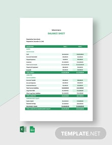 Advertising Agency Balance Sheet Template