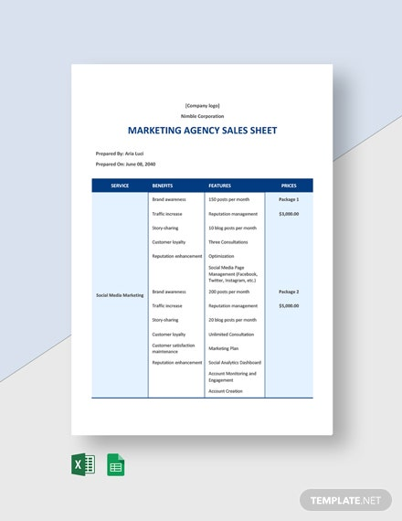 Marketing Agency Sales Sheet Template