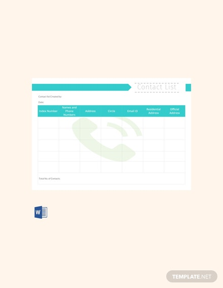 Free Contact List Template