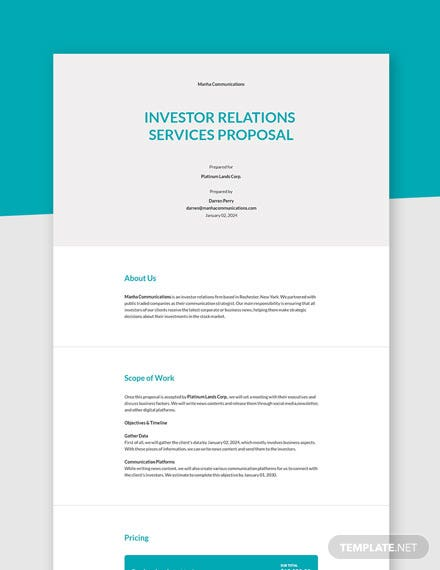 Investor Relations Proposal Template