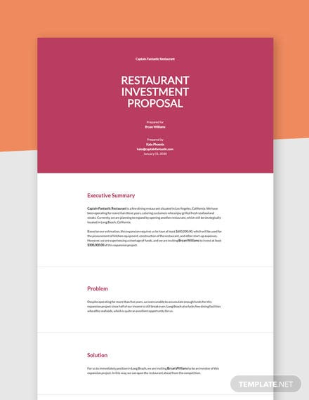 Restaurant Investor Proposal Template