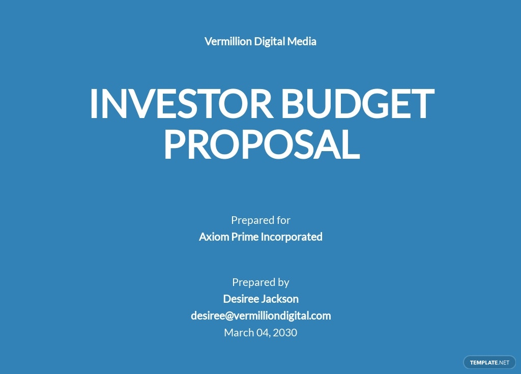 Investor Budget Proposal Template