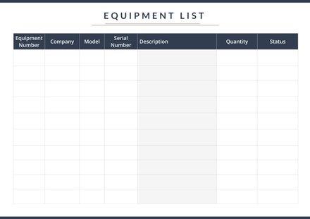 Equipment List Template