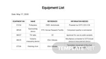 Free Equipment List Template