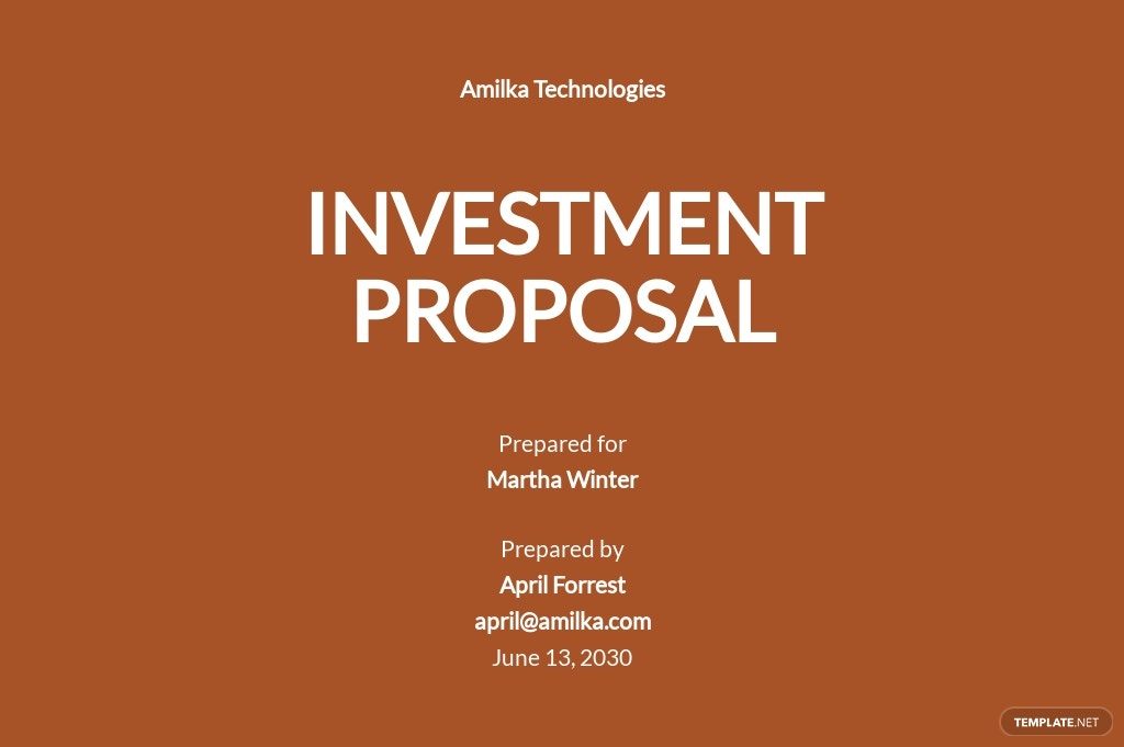 Financial Investment Proposal Template