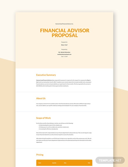 Editable Financial Advisor Proposal