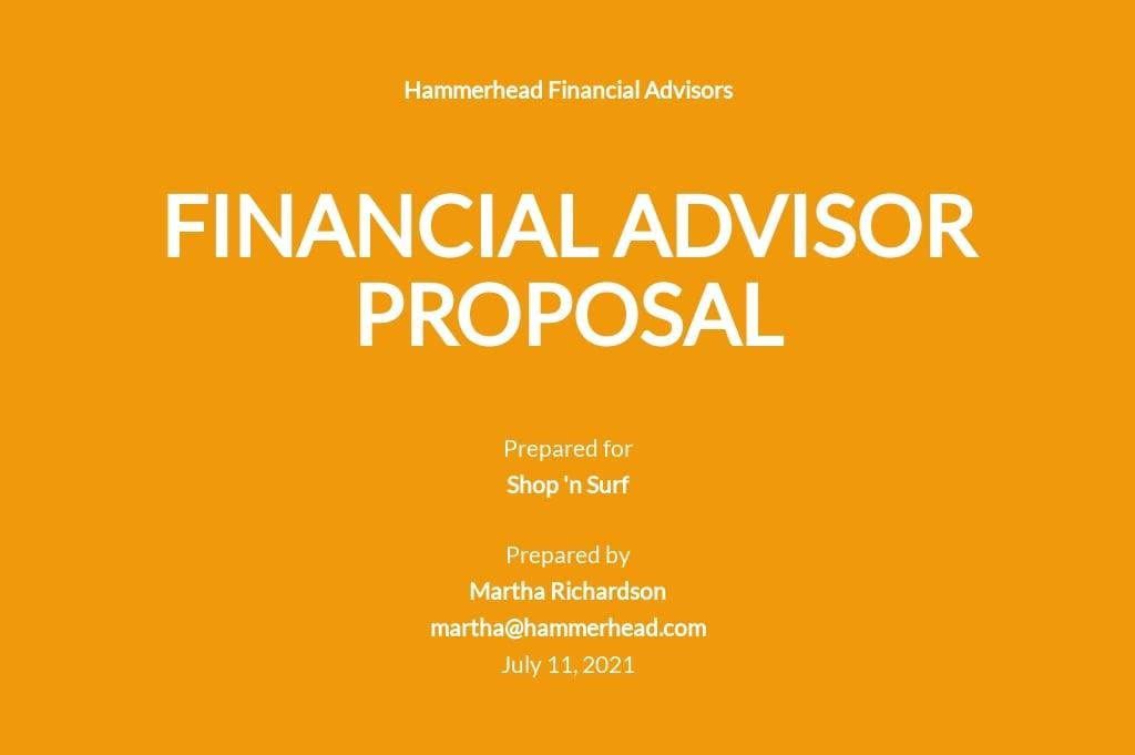 Financial Advisor Proposal Template