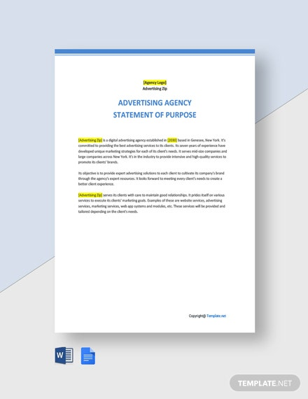 Sample Statement of Purpose for Advertising Agency Template