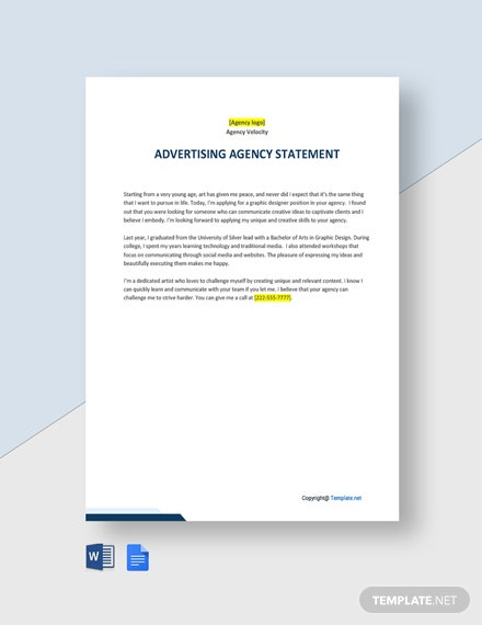 Free Basic Advertising Agency Statement template