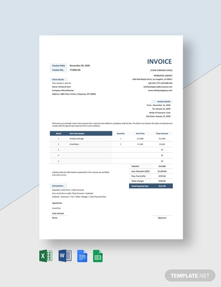 Advertising Agency Invoice Format Template