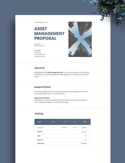 Asset Management Proposal Template
